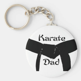 Martial Arts Plain Black Belt Karate Dad Keychain