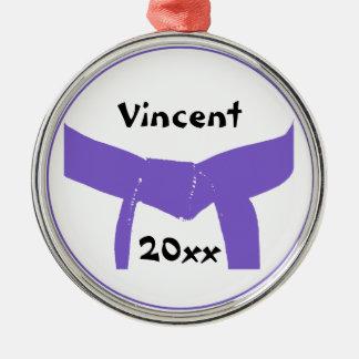 Martial Arts Purple Belt Silver-Colored Round Decoration