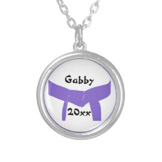 Martial Arts Purple Belt Silver Plated Necklace
