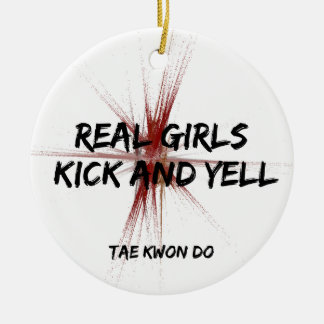 Martial Arts Real Girls Kick and Yell Taekwondo Ceramic Ornament
