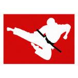 martial arts silhouette custom invites