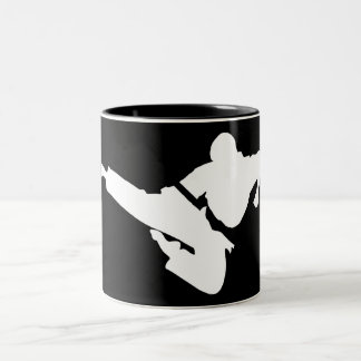martial arts silhouette Two-Tone coffee mug