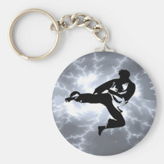 Martial Arts Silver Lightning man Basic Round Button Key Ring