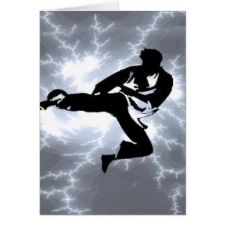 Martial Arts Silver Lightning man Card