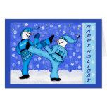 Martial Arts Snowmen Kicking Holiday Greeting Card