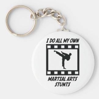 Martial Arts Stunts Basic Round Button Key Ring