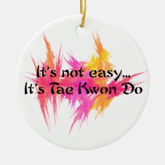Martial Arts Taekwondo Pink and Orange Ceramic Ornament