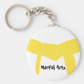 Martial Arts Yellow Belt Basic Round Button Key Ring