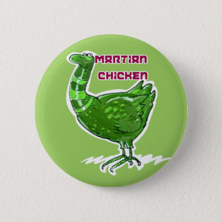 martian chicken cartoon style funny illustration 6 cm round badge
