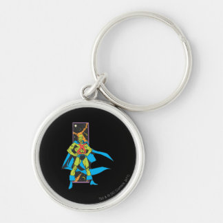 Martian Manhunter & Space Backdrop Silver-Colored Round Key Ring
