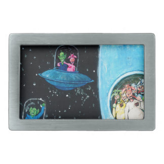 Martians and Cows Rectangular Belt Buckles
