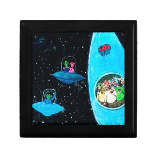Martians and Cows Small Square Gift Box