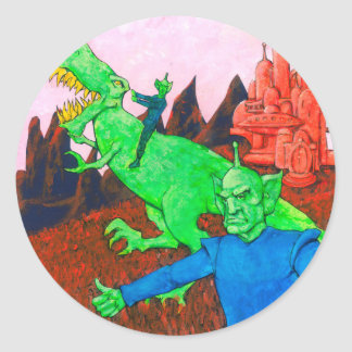 Martians and T-Rex Classic Round Sticker