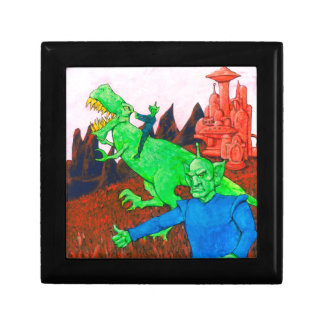Martians and T-Rex Small Square Gift Box