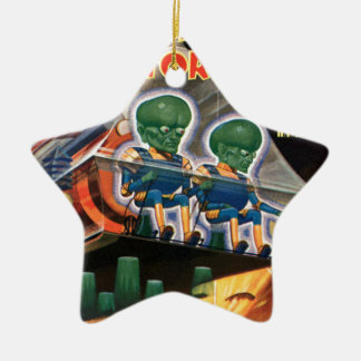 Martians Go For a Ride Ceramic Star Decoration