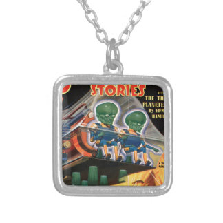 Martians Go For a Ride Silver Plated Necklace