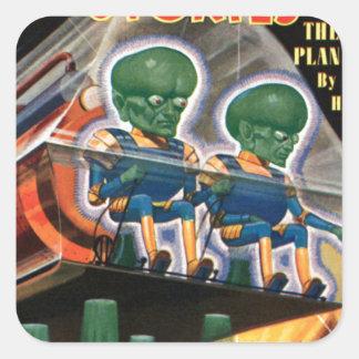 Martians Go For a Ride Square Sticker