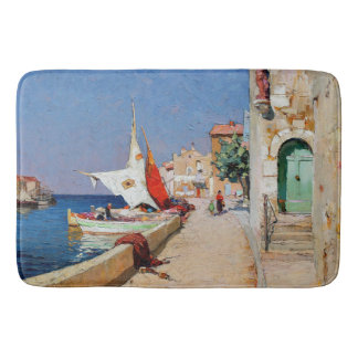 Martigues France Sailboats Coastal Town Bath Mat