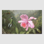 Martin Johnson Heade Orchid And Hummingbirds Rectangle Sticker