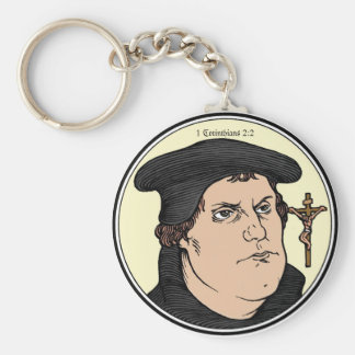 Martin Luther confessing Christ crucified keychain