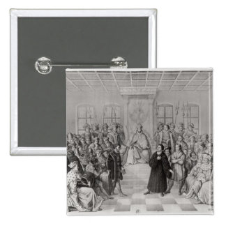 Martin Luther in front of Charles V 15 Cm Square Badge