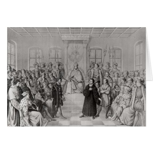 Martin Luther in front of Charles V Greeting Card