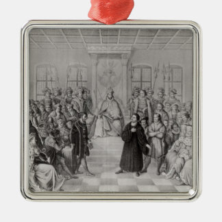 Martin Luther in front of Charles V Silver-Colored Square Decoration
