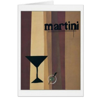 Martini (brown Stripes) Greeting Cards