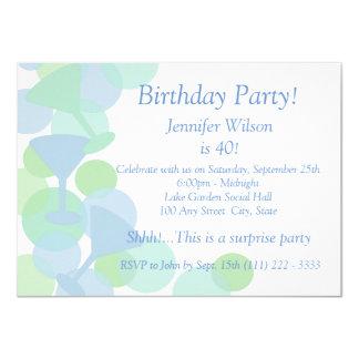 """Martini Bubbles Birthday 4.5"""" X 6.25"""" Invitation Card"""