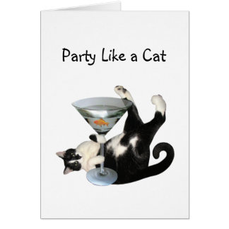 Martini Cat Party Card