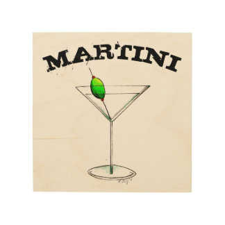 Martini Cocktail Glass Bar Kitchen Mixed Drink Wood Wall Decor