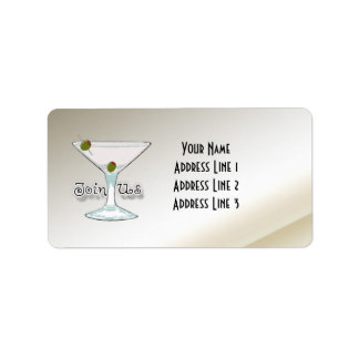 Martini Cocktail Party Invitation Address Labels