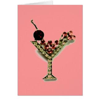 MARTINI - CRYSTAL LOOK PINK MARTINI PRINT CARD