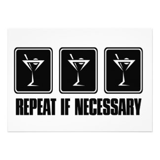 Martini Drink Signs - Repeat if Necessary Personalized Invites