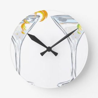 Martini Drink Sketch Round Clock