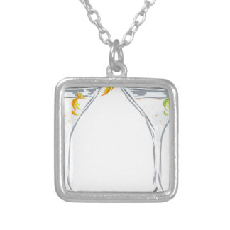 Martini Drink Sketch Silver Plated Necklace