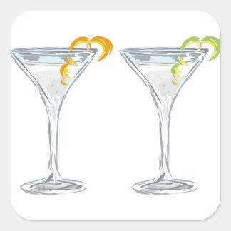 Martini Drink Sketch Square Sticker