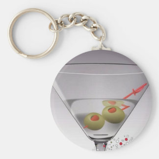 Martini glass basic round button key ring