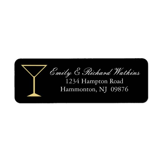 Martini Glass Cocktail Label Return Address Label