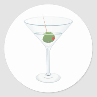 Martini glass image classic round sticker