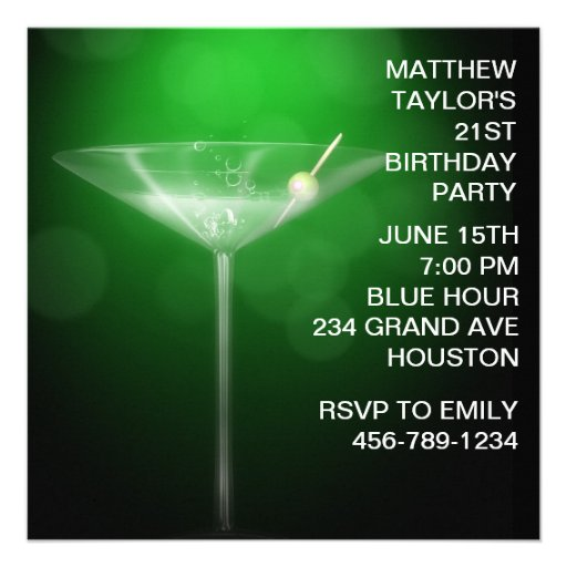 Martini Glass Mans 21st Birthday Party Custom Announcements