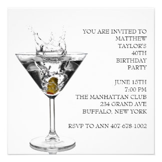 Martini Glass Mans 40th Birthday Party Custom Announcement