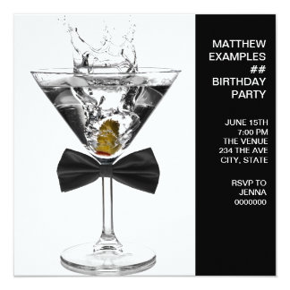 Martini Glass Mans Any Number Birthday Party 13 Cm X 13 Cm Square Invitation Card