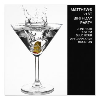 Martini Glass Mans Birthday Party 13 Cm X 13 Cm Square Invitation Card