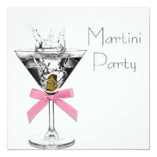 Martini Glass Pink Martini Party 13 Cm X 13 Cm Square Invitation Card
