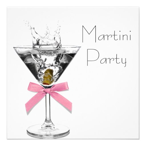 Martini Glass Pink Martini Party Personalized Announcements