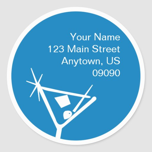 Martini Glass Silhouette Address Label (Blue) Round Stickers