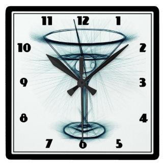 Martini Glass Sketch Square Wall Clock
