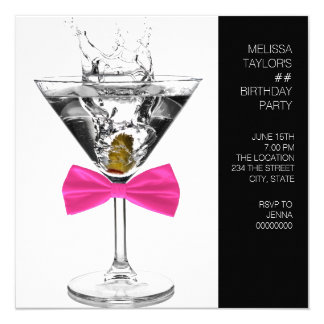 Martini Glass Womans Any Number Birthday Party 13 Cm X 13 Cm Square Invitation Card