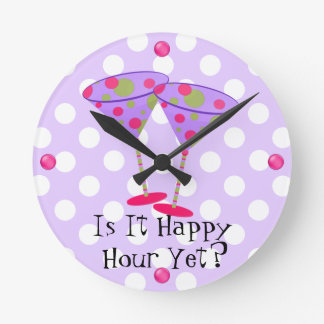 Martini Glasses Happy Hour Wall Clock